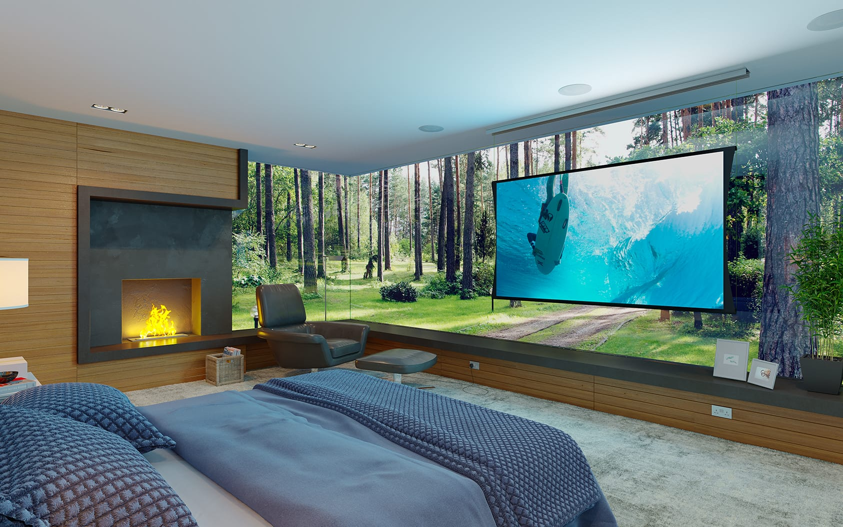 TV Setup in a bed room with projector