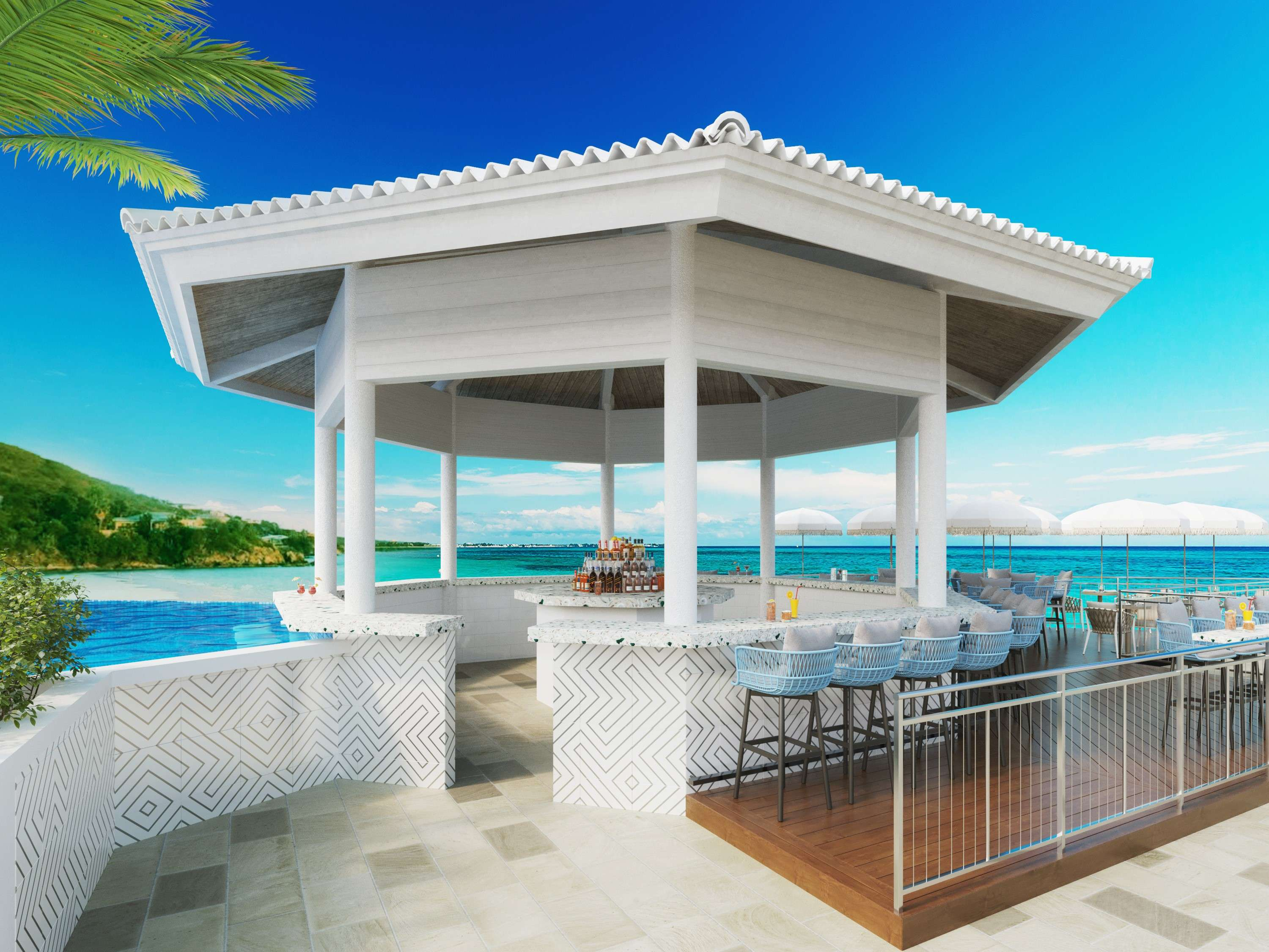 The breathtaking outdoor pool bar at Noni Beach Resort in St. Thomas