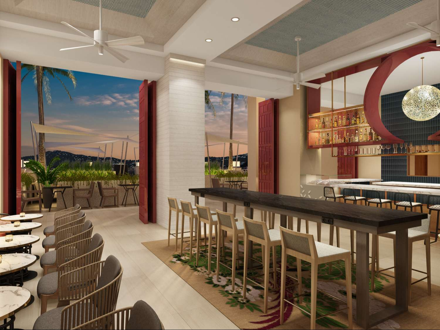 Rendering of the open concept Lobby Bar at Noni Beach Resort in St. Thomas