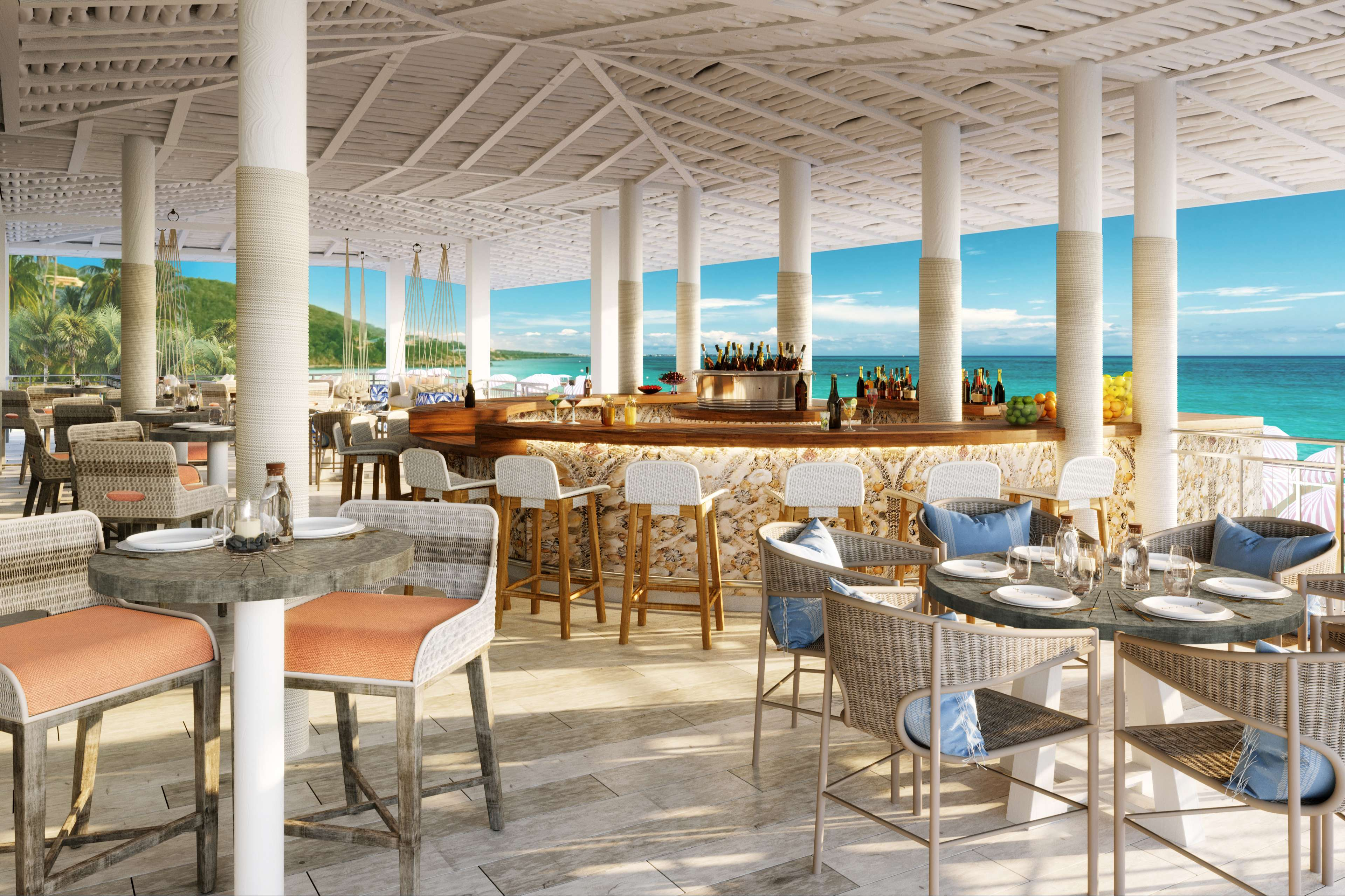 Rendering of the bright an spacious Coco's Beach Club at Noni Beach Resort in St. Thomas
