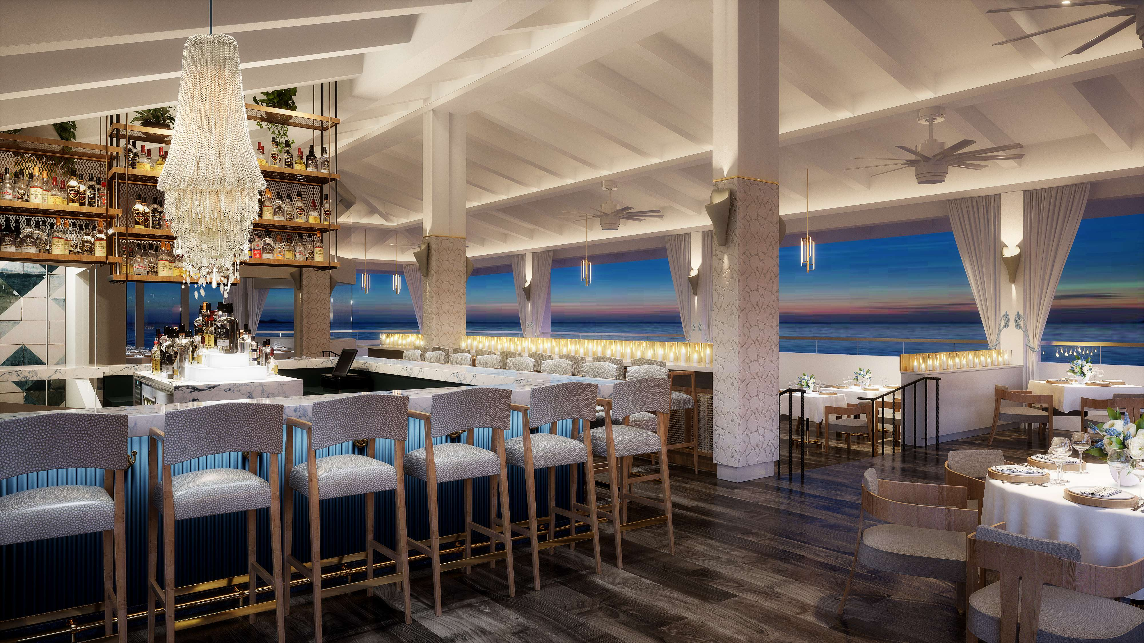 Rendering of the bar at the Isla Blue Restaurant at Noni Beach Resort in St. Thomas
