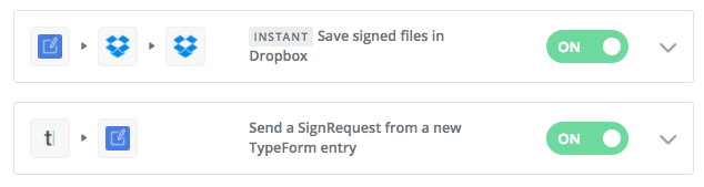 Integrate Typeform or Dropbox with SignRequest