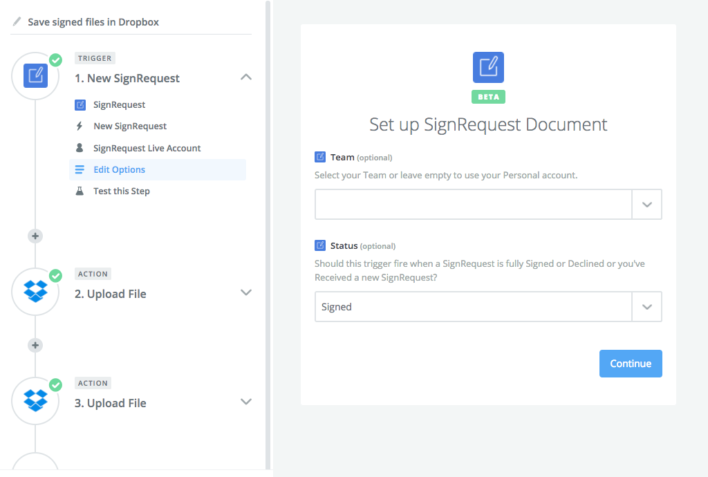 Integrate SignRequest with Dropbox