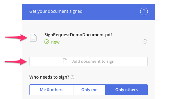 Arrow indicating how to upload documents in SignRequest