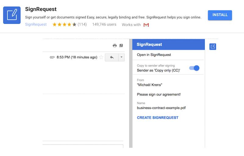 SignRequest in Gmail