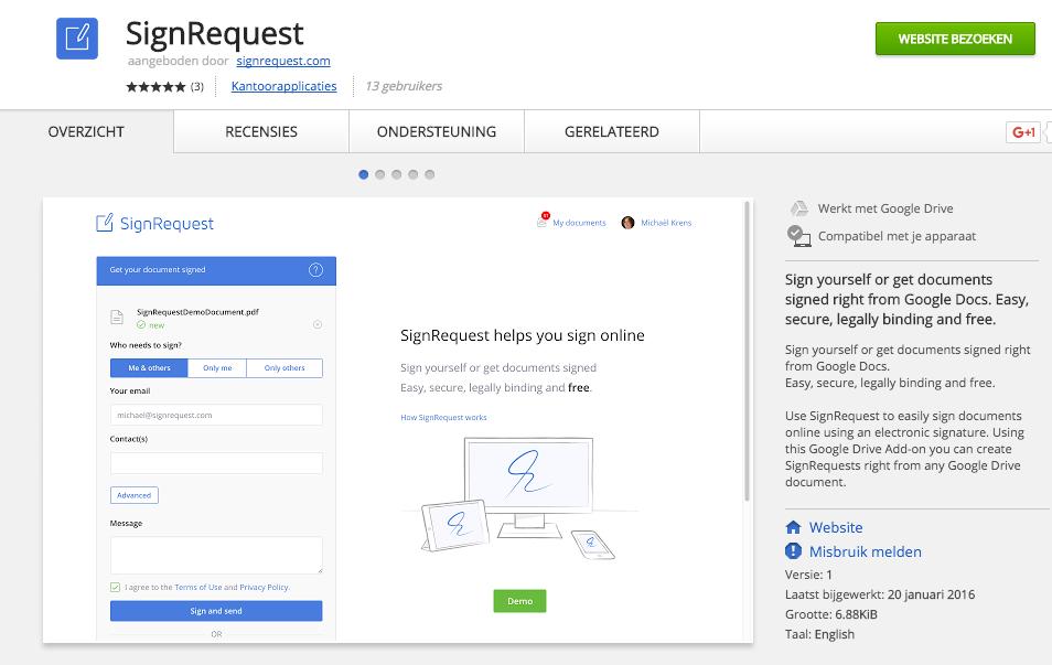 SignRequest in Google Drive