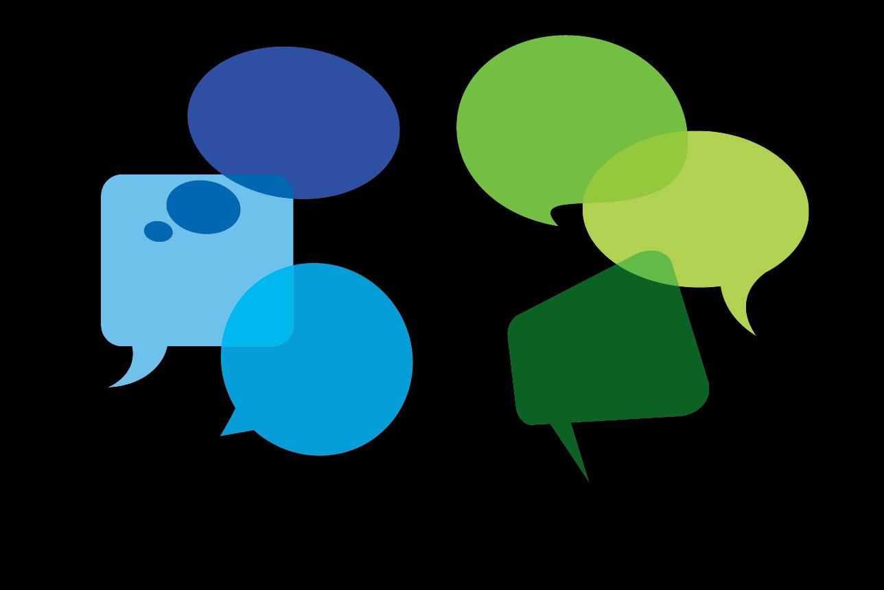 A graphic of conversation bubbles.