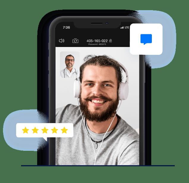 ilustracion de pantalla de telefono movil con una doctora