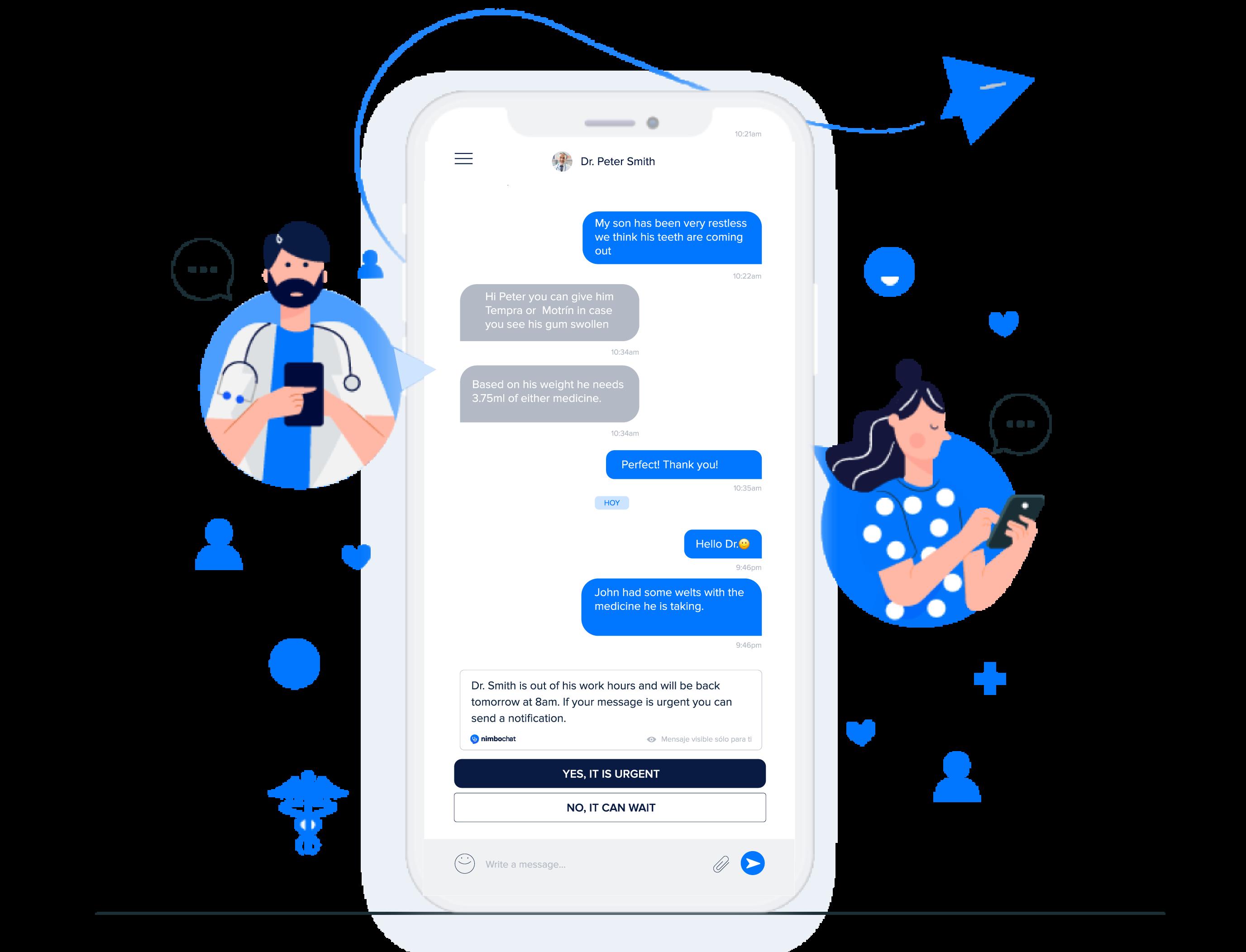 app movil para que medicos chateen con pacientes