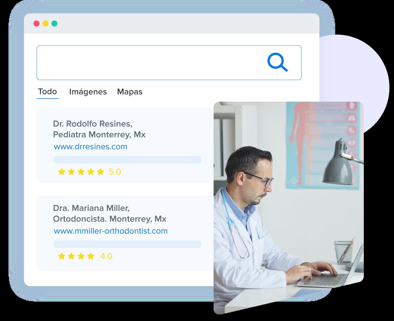 ilustracion de busqueda en internet para medicos