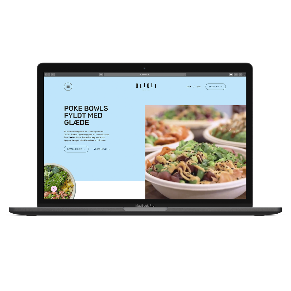 Olioli Poké needed Krause Studio's Webflow expert developer skills to develop all creative design ideas, and transform business ideas into a corporate webpage.