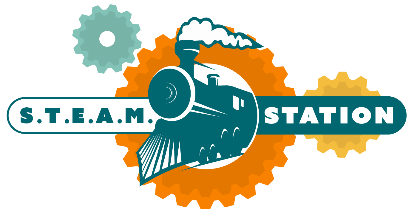 steam station logo of a train driving through gears with steam billowing out
