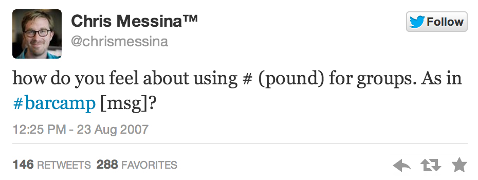 first hashtag post on twitter from Chris Messina