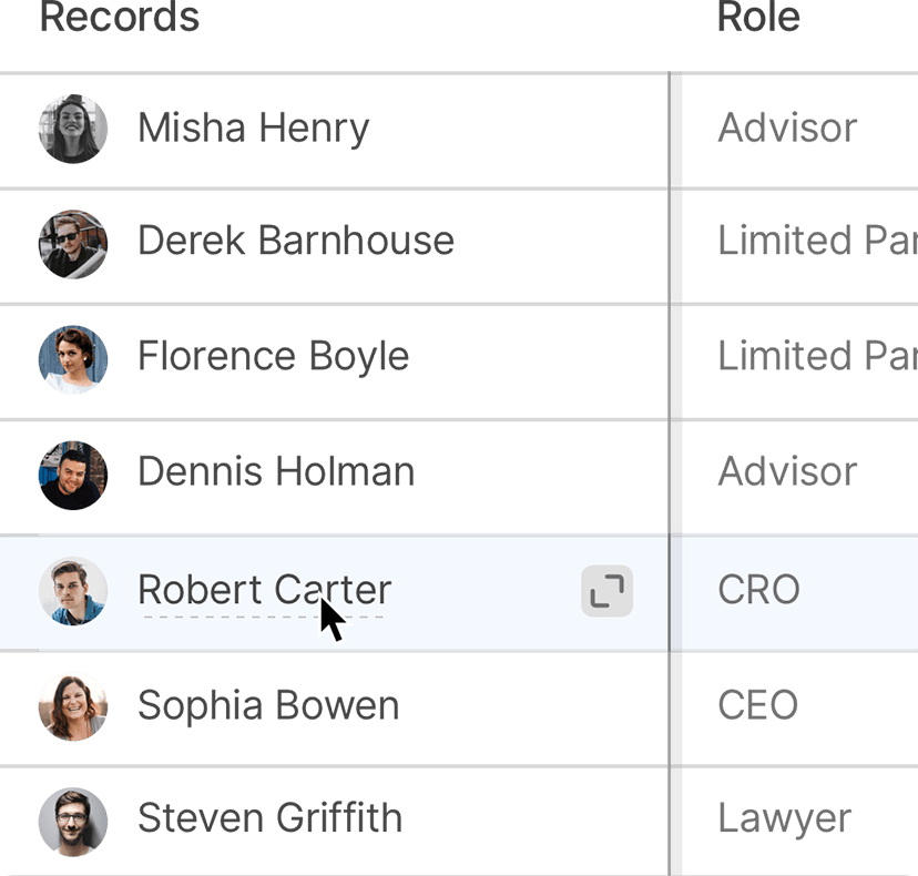 A table of private equity records and their roles