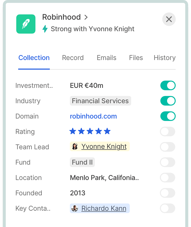 A detailed company popover card showing financial information