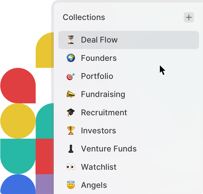 The Attio sidebar showing a team's venture capital collections