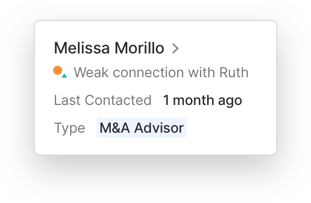 A popover description of a contact from your network