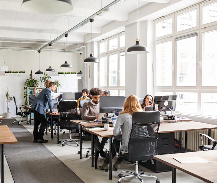 People working in a modern office environment