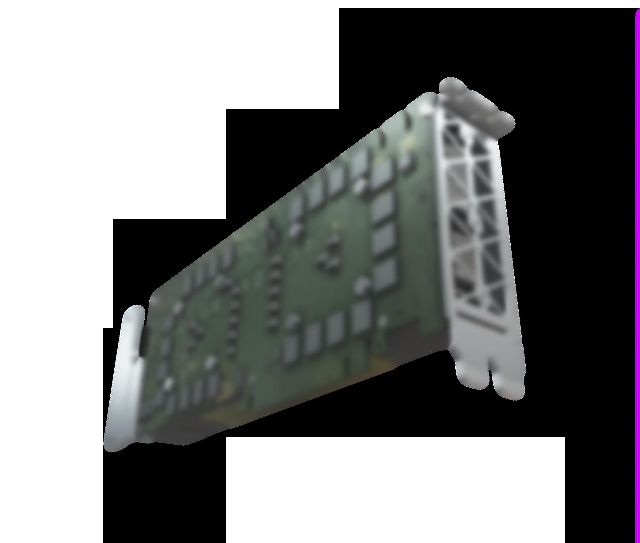 Skewed in perspective rendering of the NVIDIA Tesla computer board.