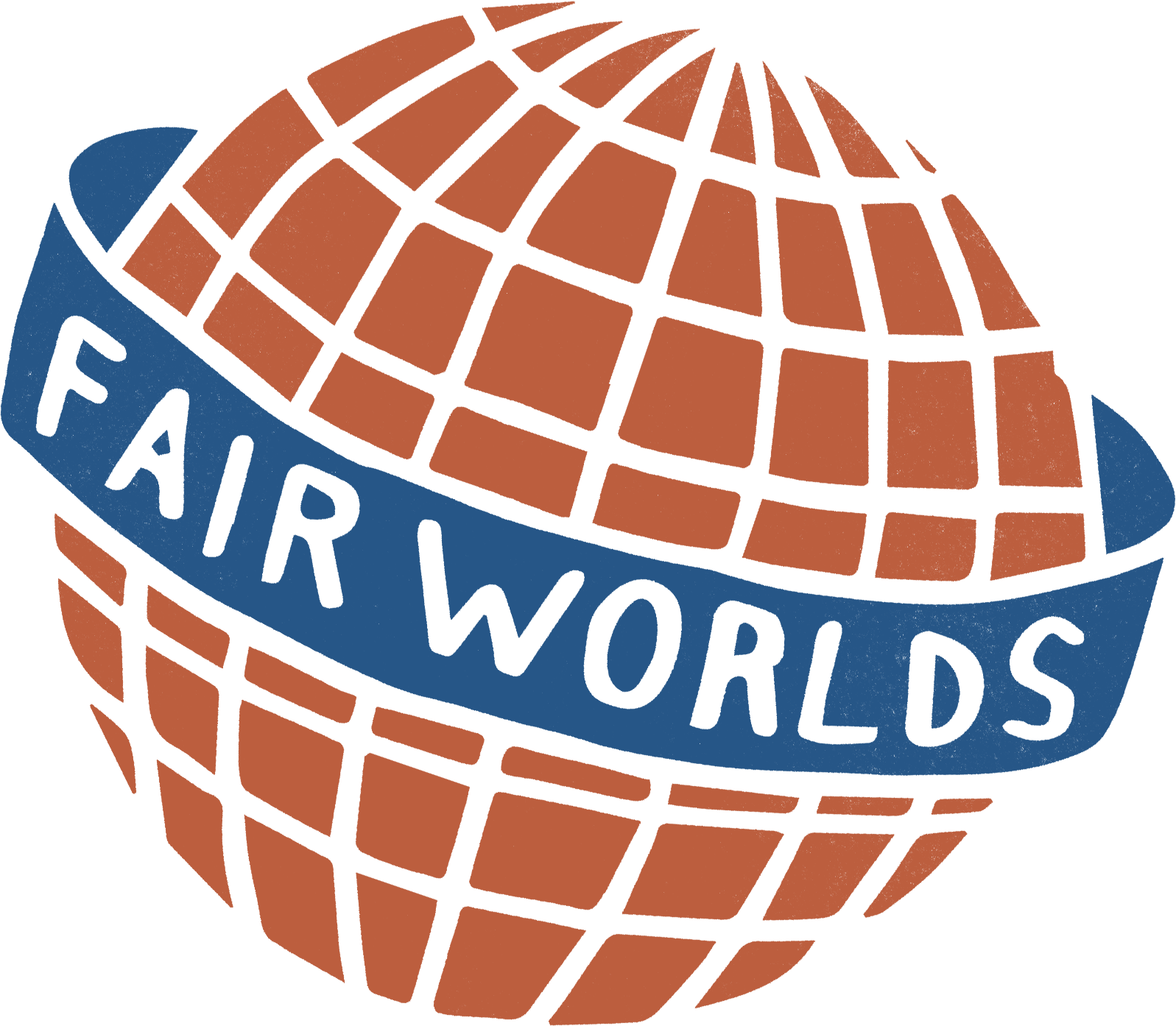 FairWorlds logo image. The logo looks like a orange globe with a blue banner wrapped around it that has the company name on it.