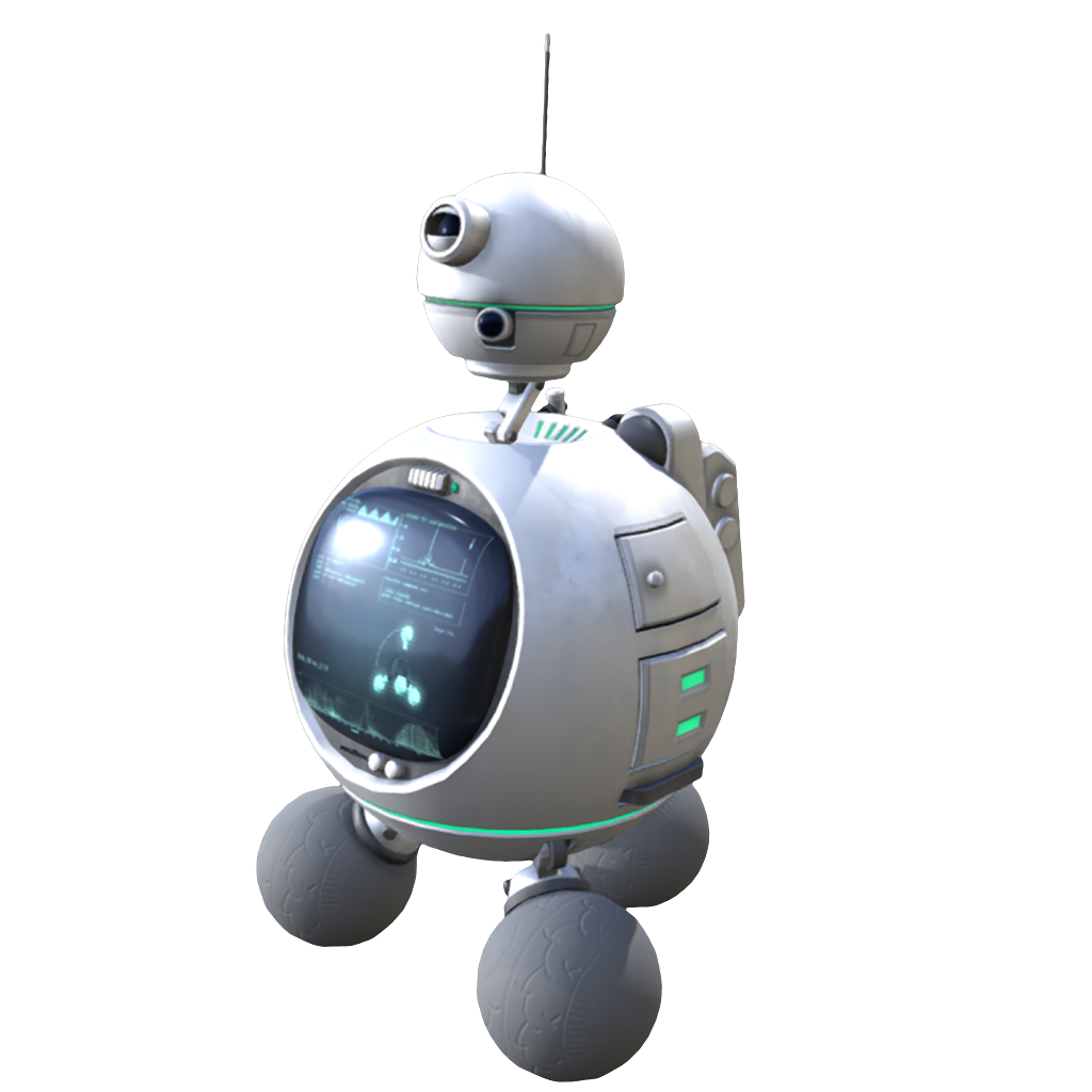 I spherical-like robot floating in space