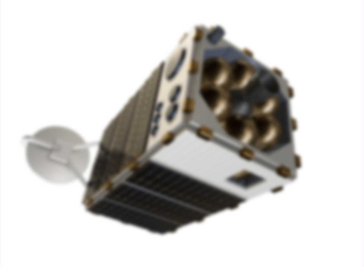 A blurry and distant boxy satellite that detects methane.