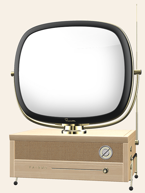 60's retro TV playing clips of work done by Fair Worlds.