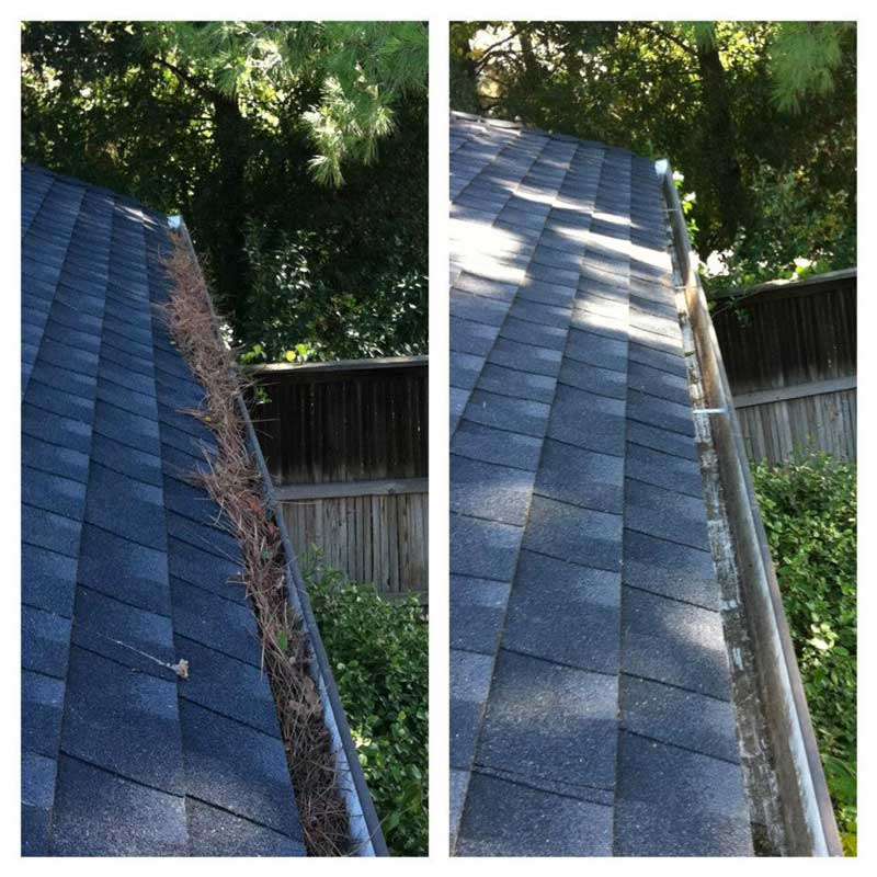 Gutter cleaning before and after in Yolo, CA