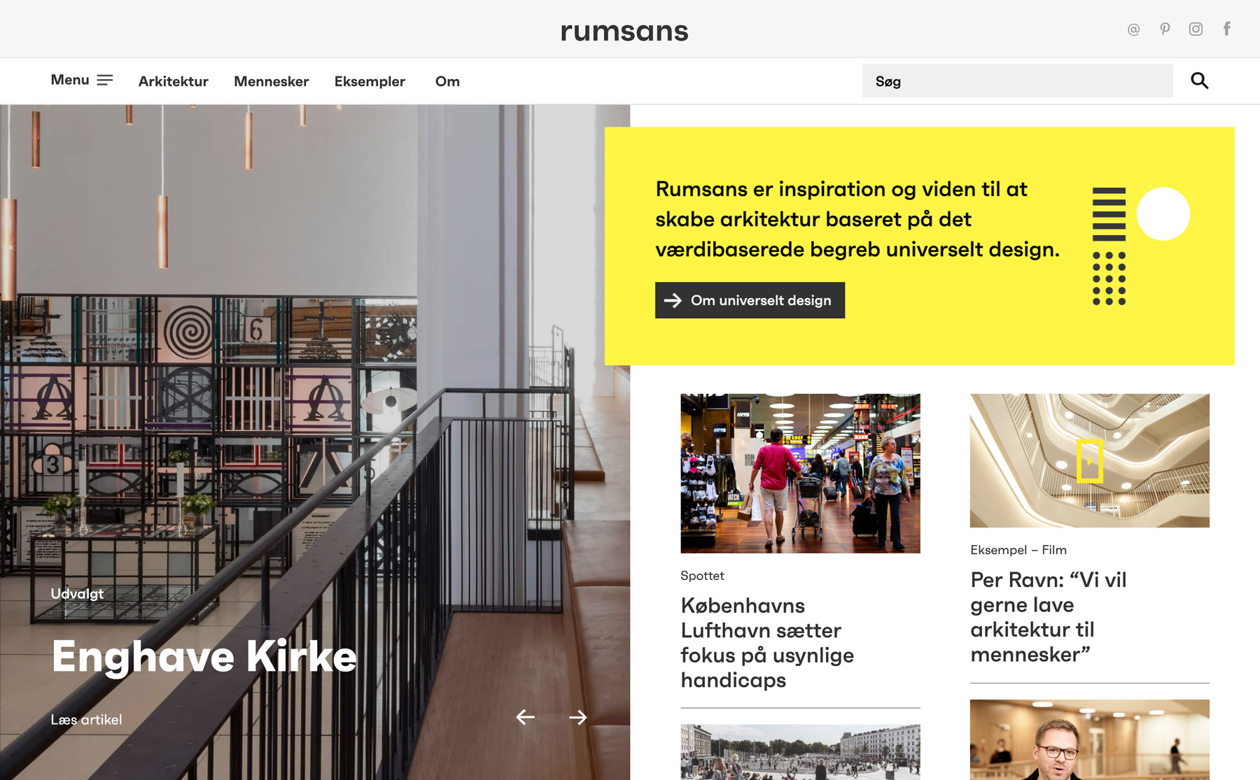 The frontpage of the Rumsans website with navigation menu, pictures and editorial content.