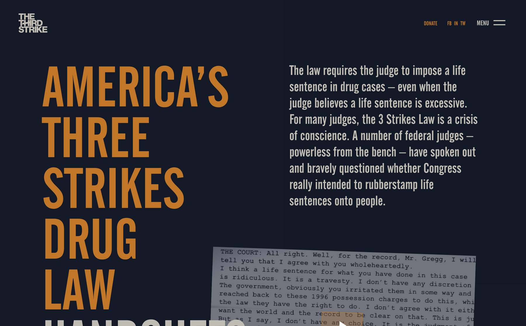 "The ""About the law"" on The Third Strike Campaign page"