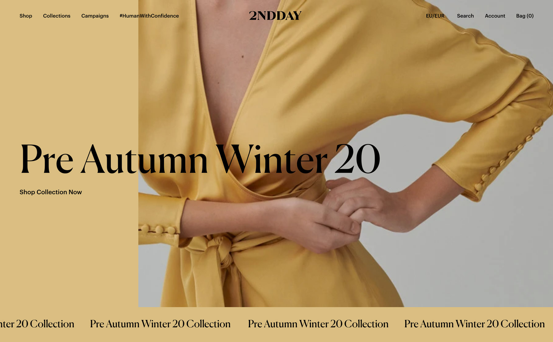 The color of the website design is taken from each collection. This yellow frontpage is made with the yellow from the dress presented on the large image.