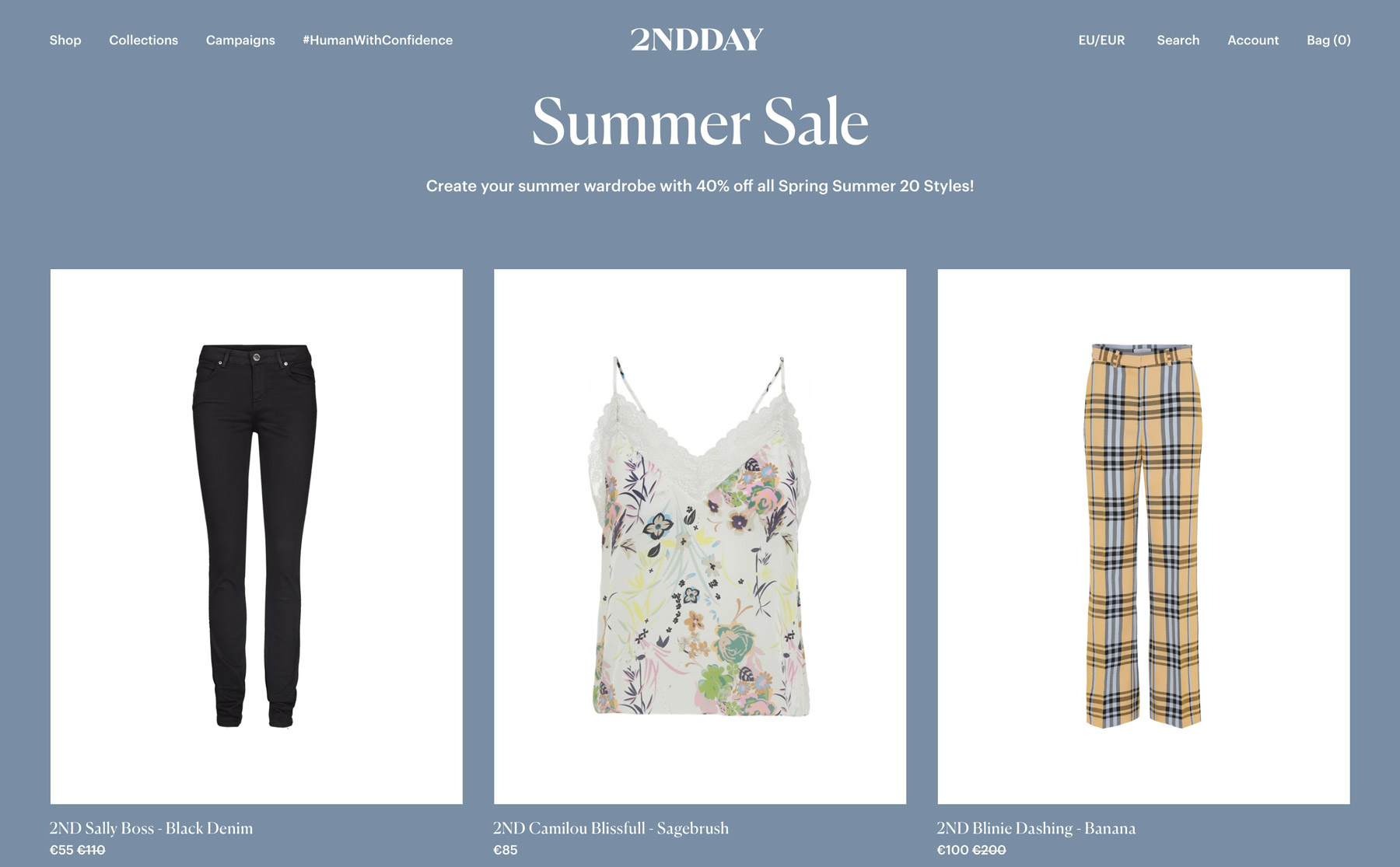 Two pairs of pants and a top in the summer sale are presented at a discounted price in the design of the 2NDDAY webshop.