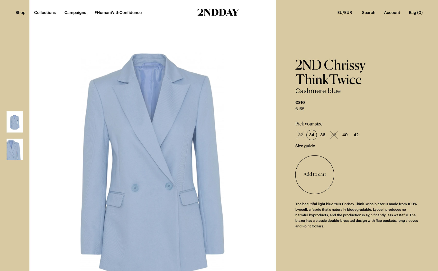 "A light blue blazer displayed on a product page in the webshop. The call to action ""Add to cart"" is clear, yet in a subtle design."