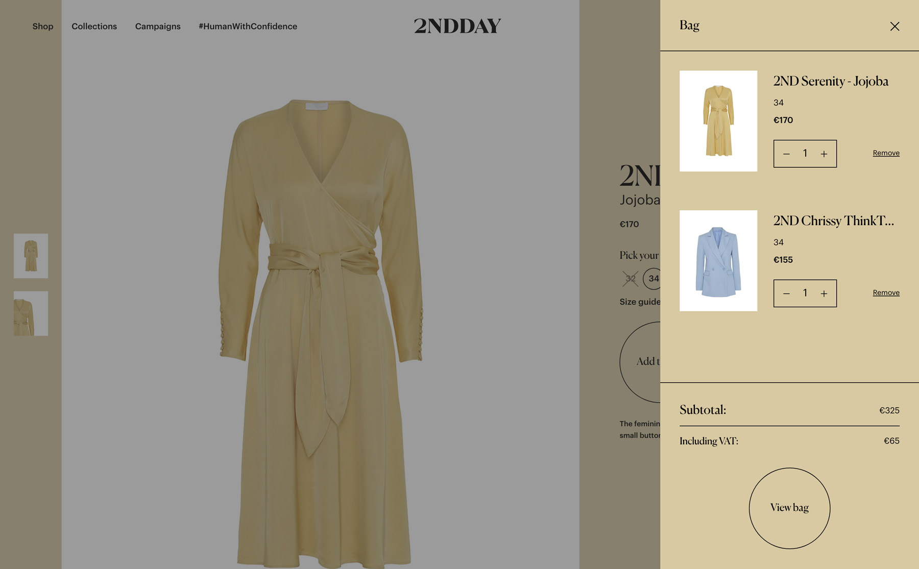 The shopping basket can always be viewed and is presented as a sidebar to the left while you're browsing the webshop.