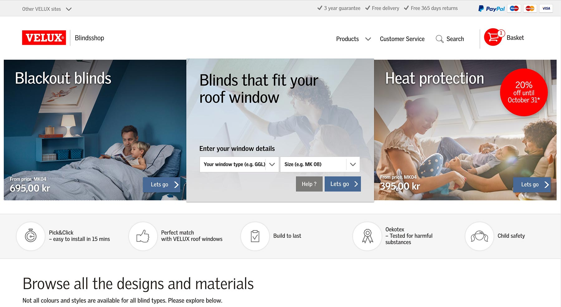The VELUX Blind shop front page