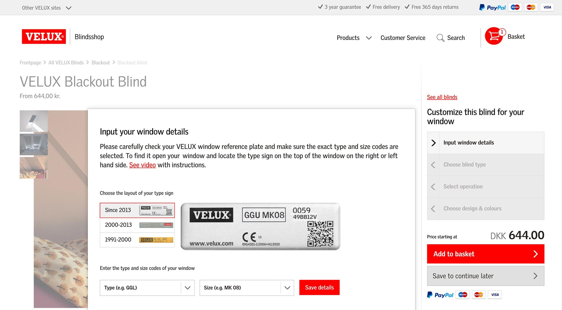 A screendump that shows the link to the basket in the VELUX blind shop
