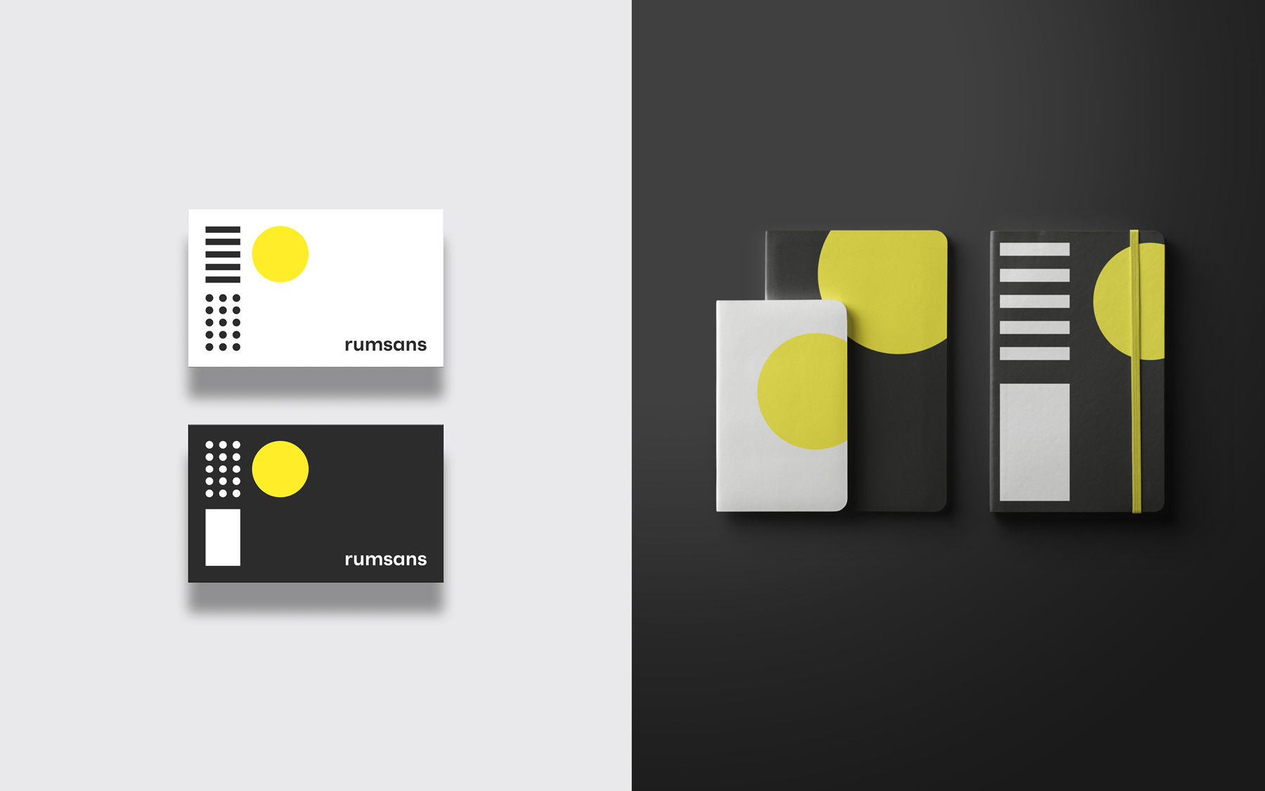 Business cards and note books printed with the Rumsans visual identity consisting of graphic elements in the colors black, white and yellow.