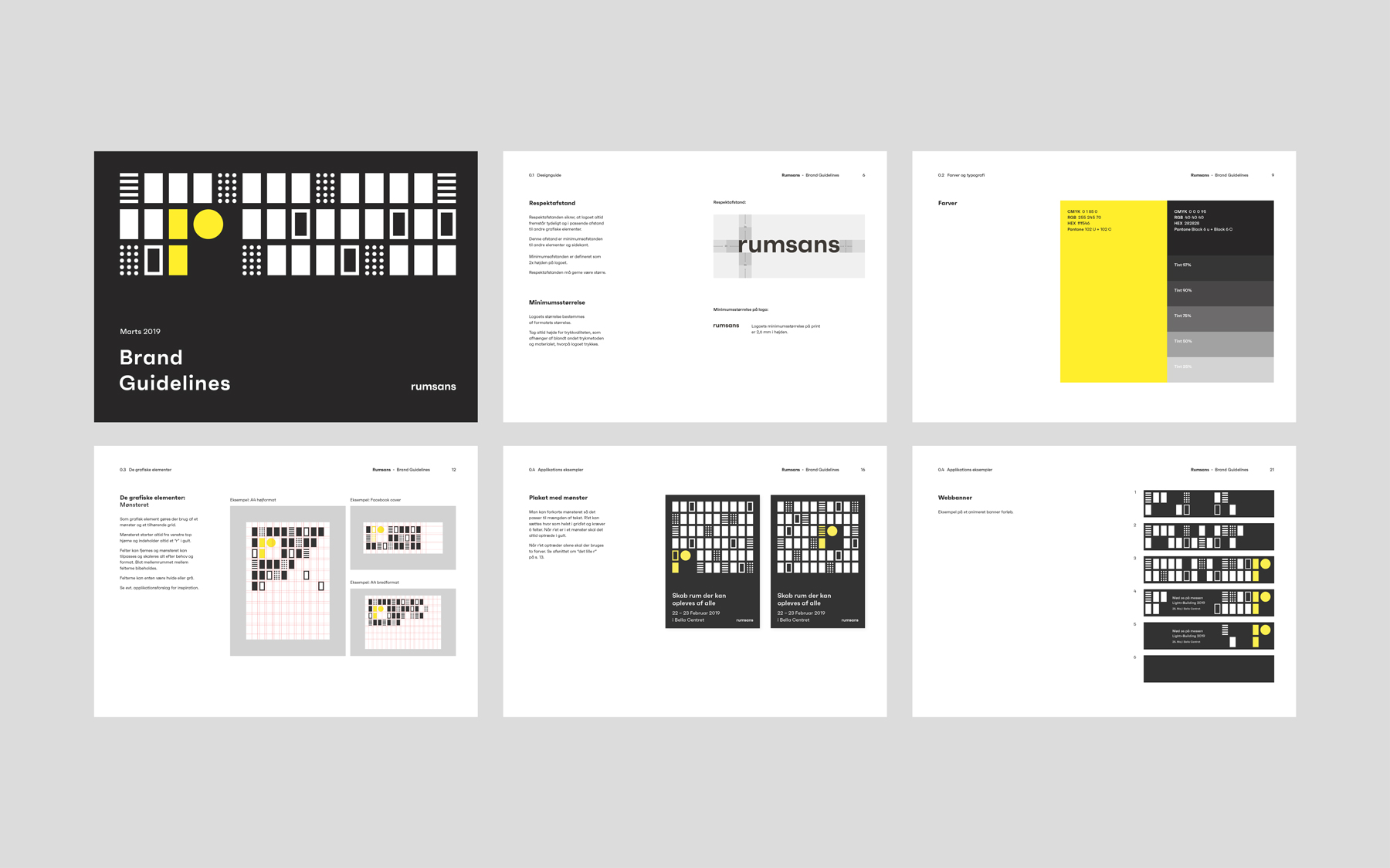 Six slides from Rumsans' brand guidelines incl. how to use the logo, what colors to use, and graphic elements.