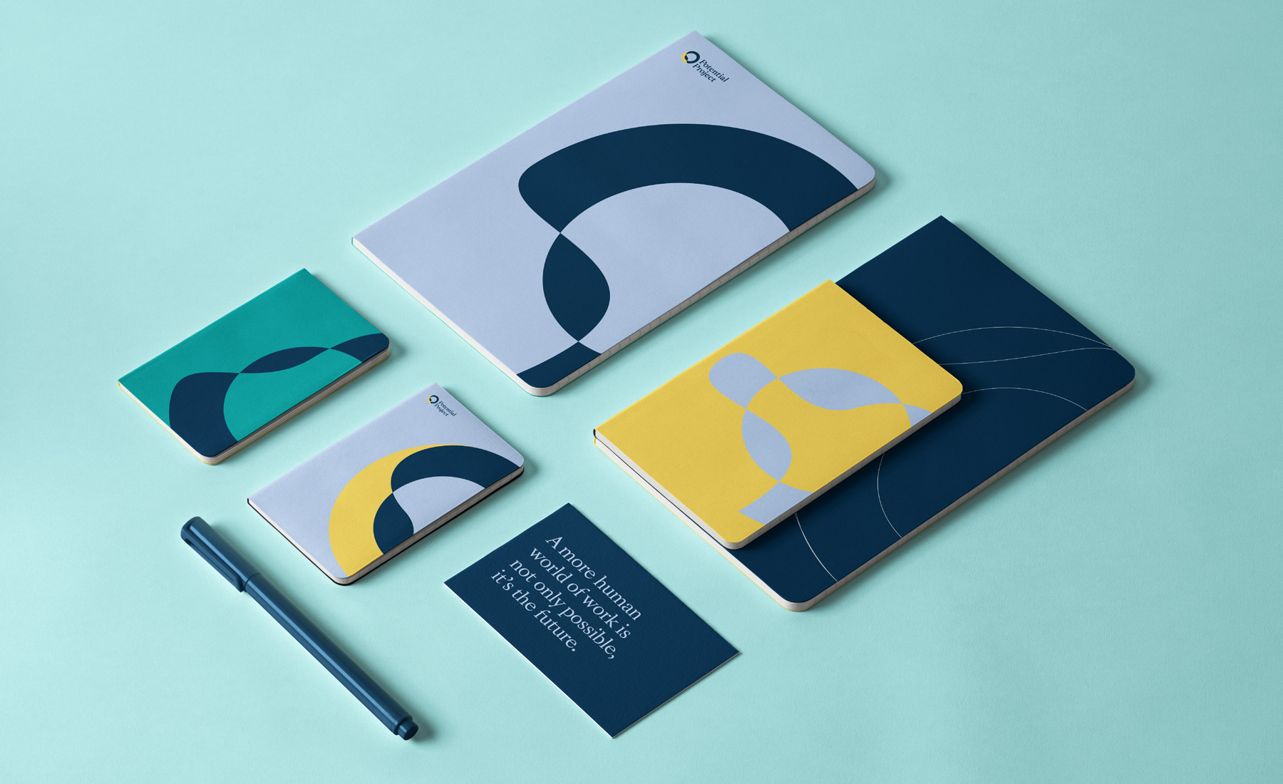 Mock-ups of the new identity we developed for the mindfulness company Potential Project