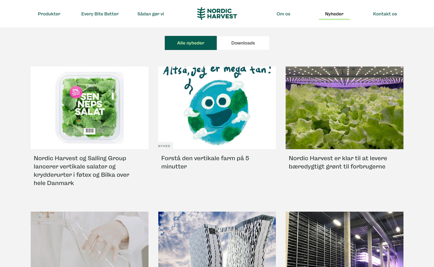 a picture of the new website for nordic harvest