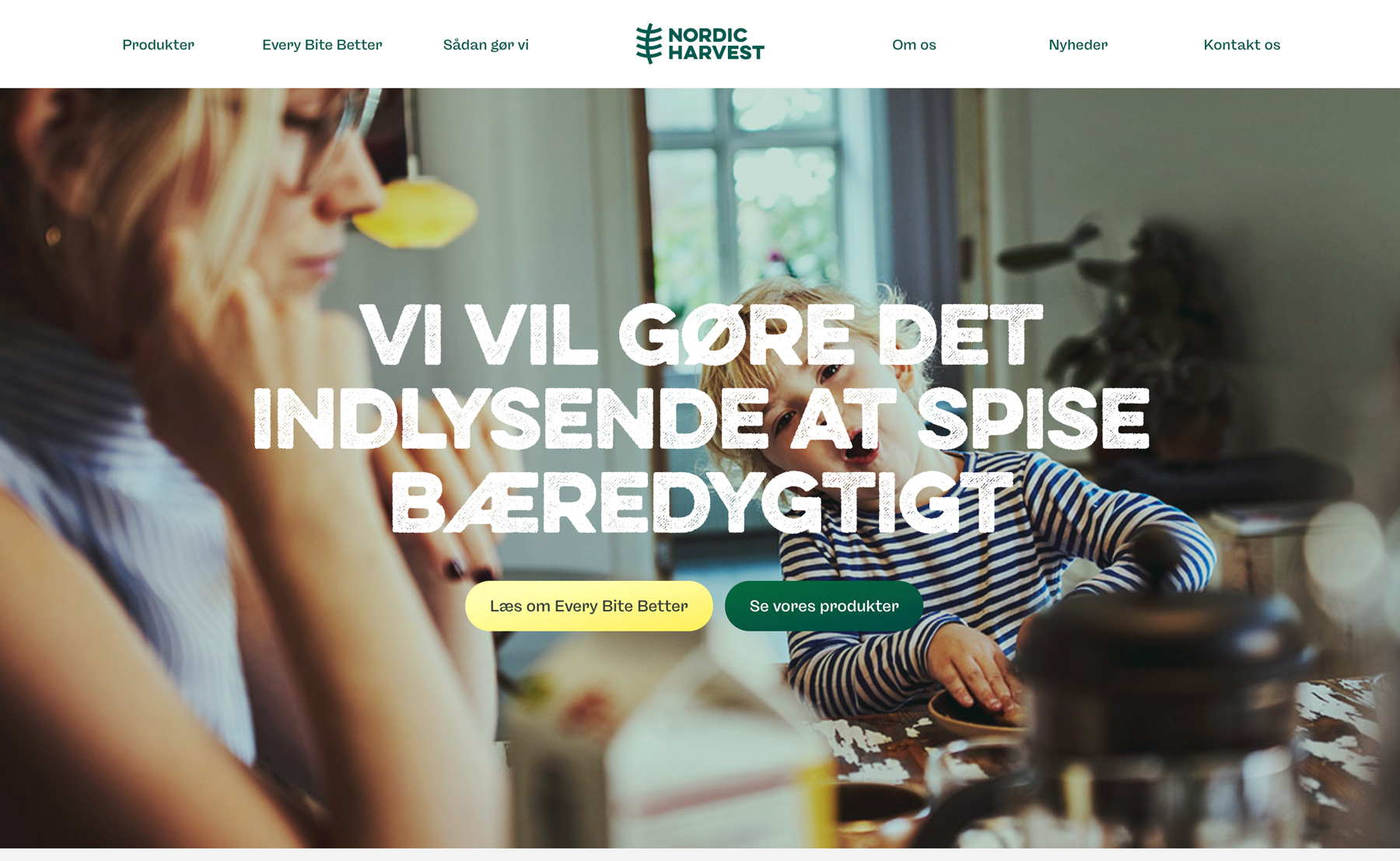 The Nordic Harvest website in a Scandinavian, light design