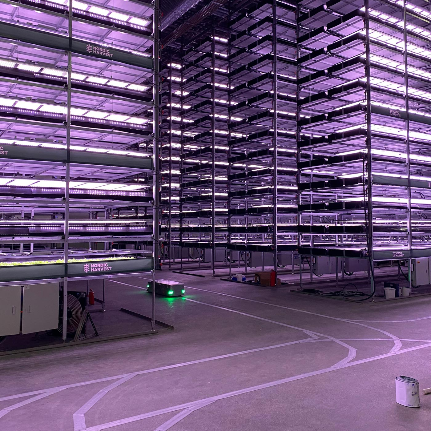 A picture of the shelves where Nordic Harvest grows its crops