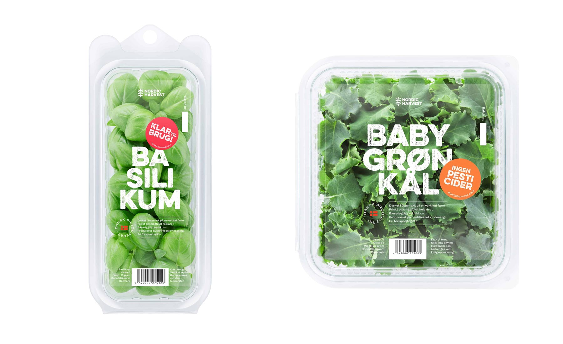 Shows the design of the new Nordic Harvest packaging