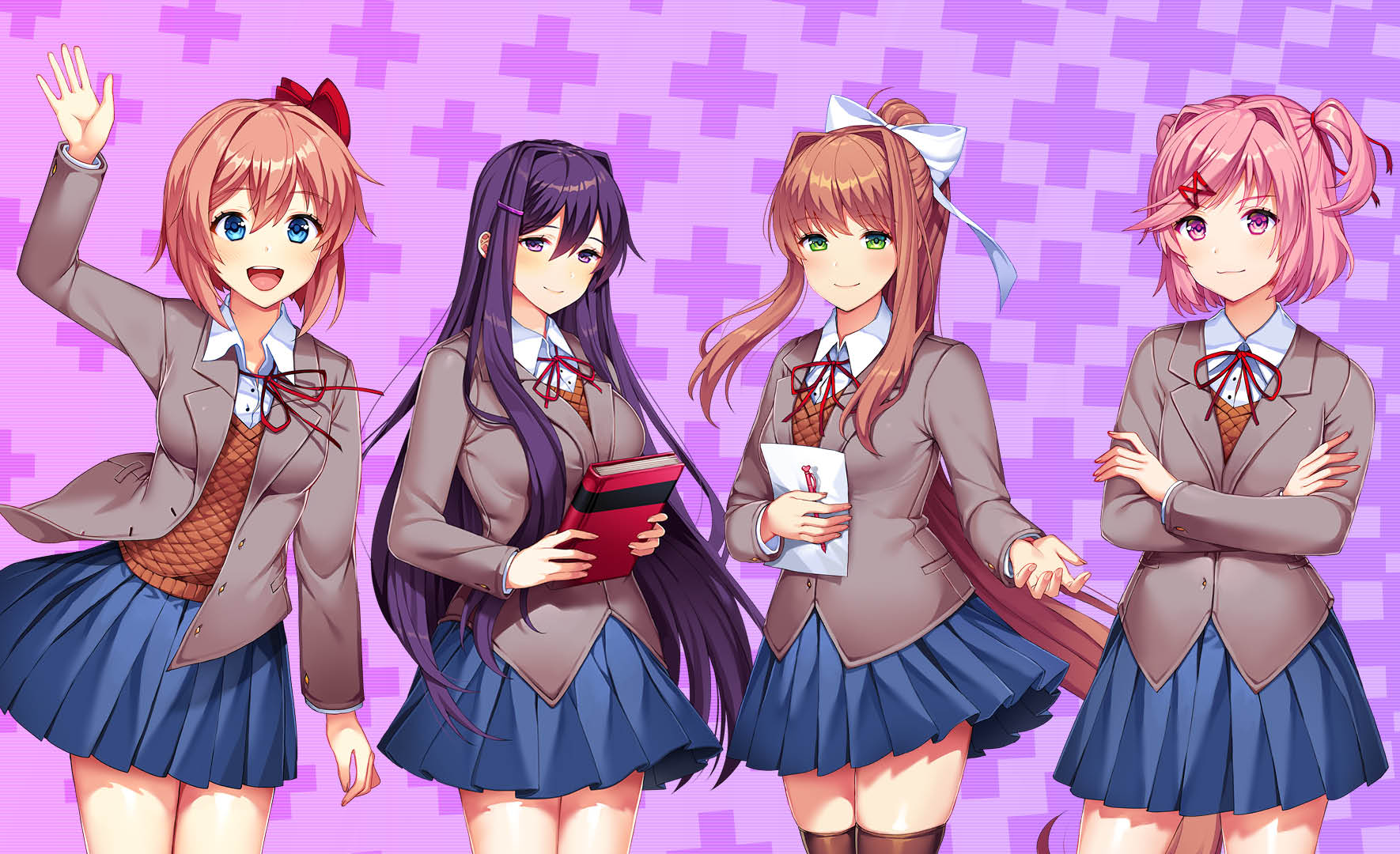 Showing the four main Characters in the Doki Doki Literature Club Plus Horror game