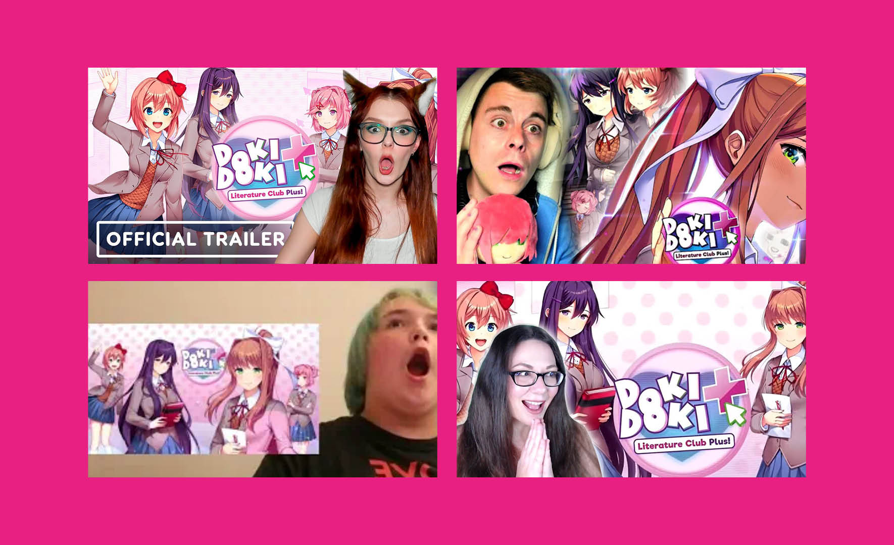 Pictures of fans from YouTube reacting on the Doki Doki Litterature Club Plus trailer