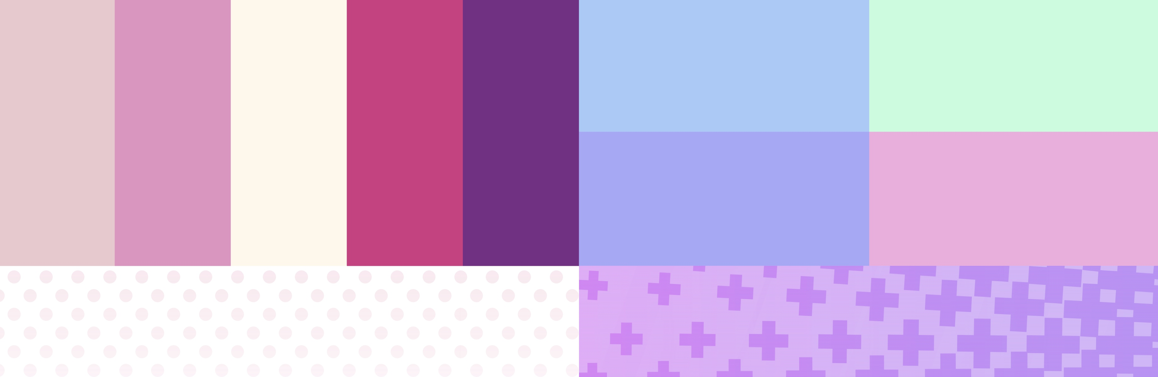 A collage with pastel colored squares and patterns