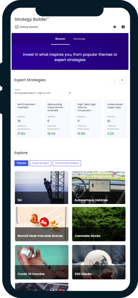 Strategy Builder mobile mockup: Explore expert strategies and themes based on trending topics