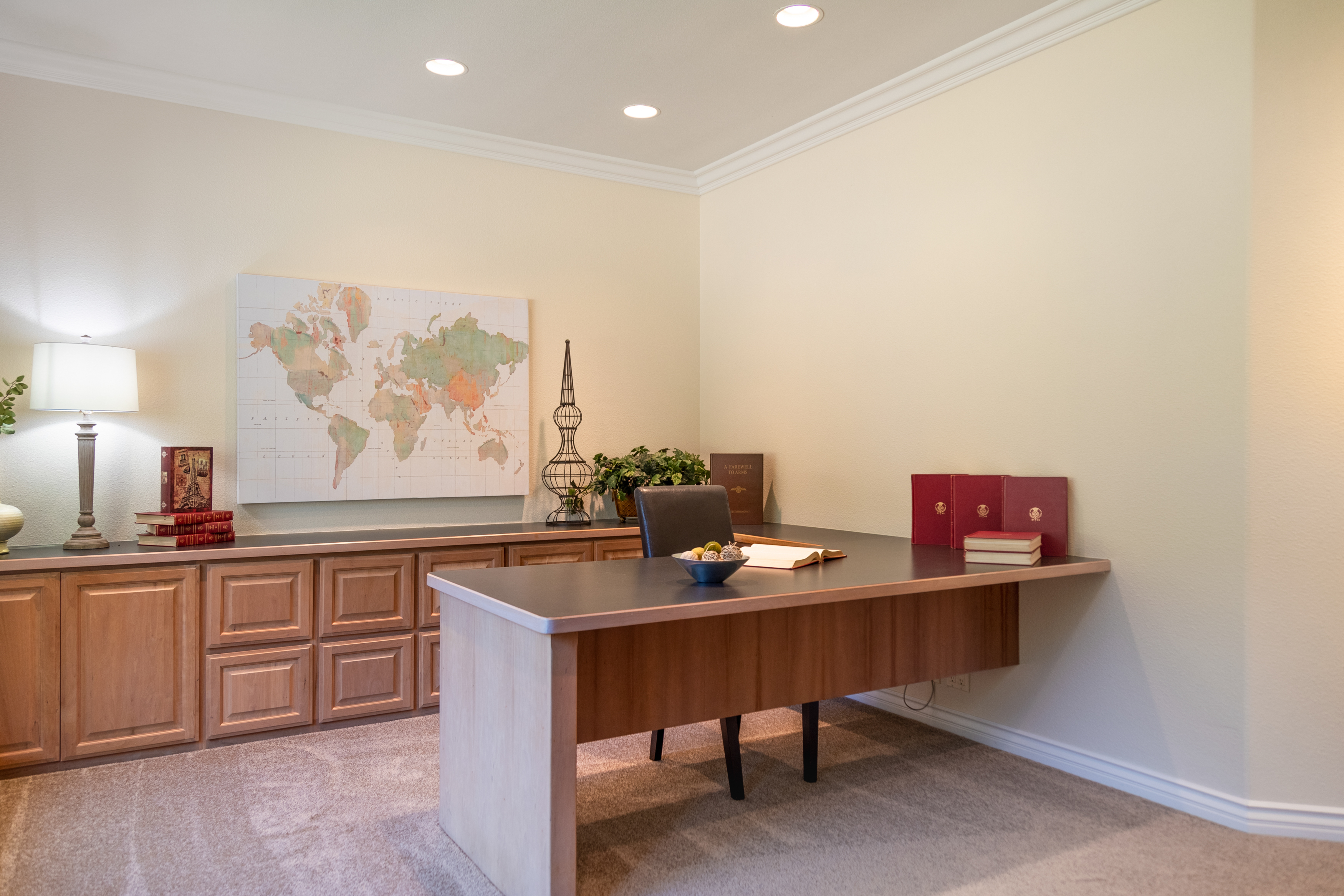 photography portfolio example - large home office with L shape desk