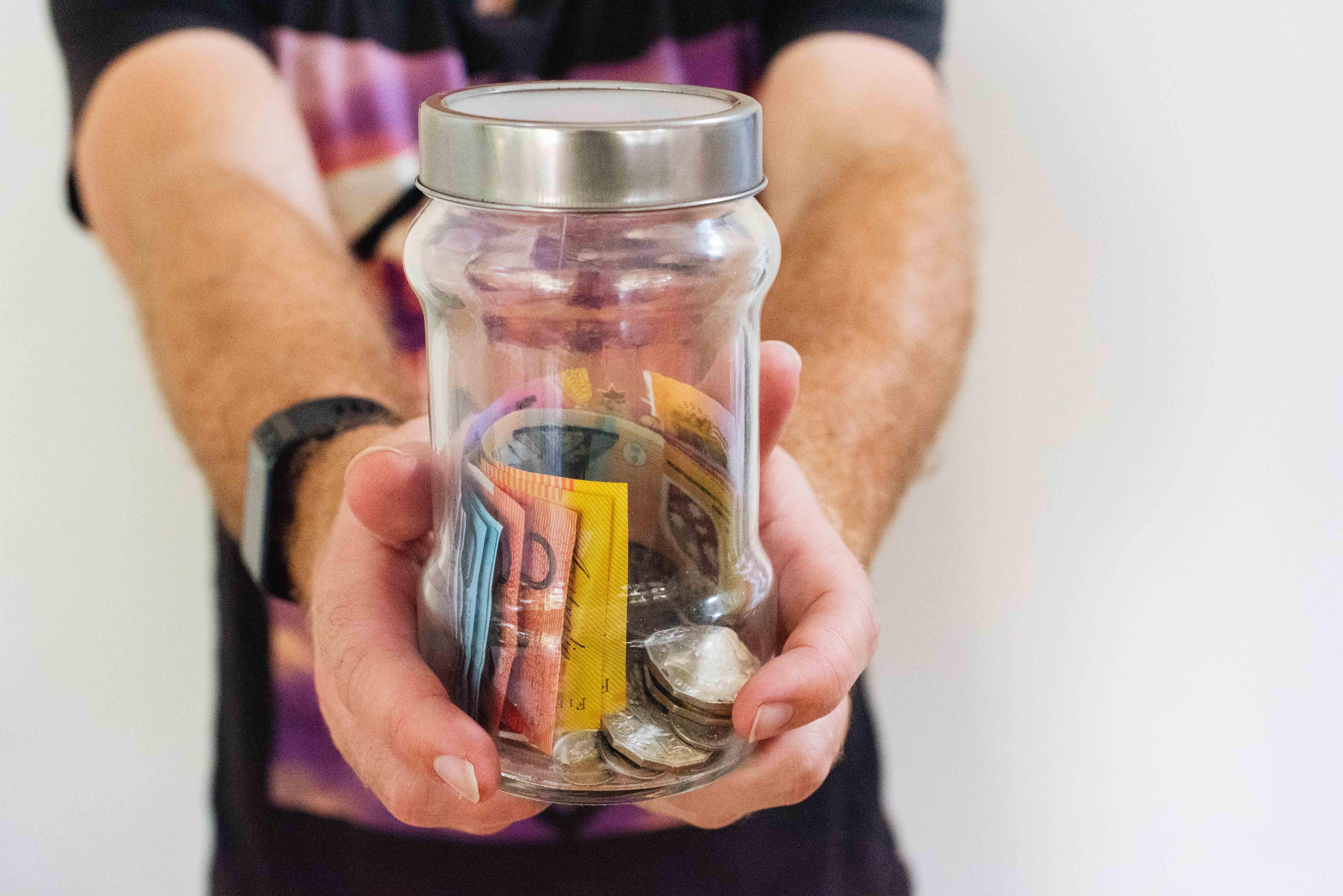 Jar of money as financial savings