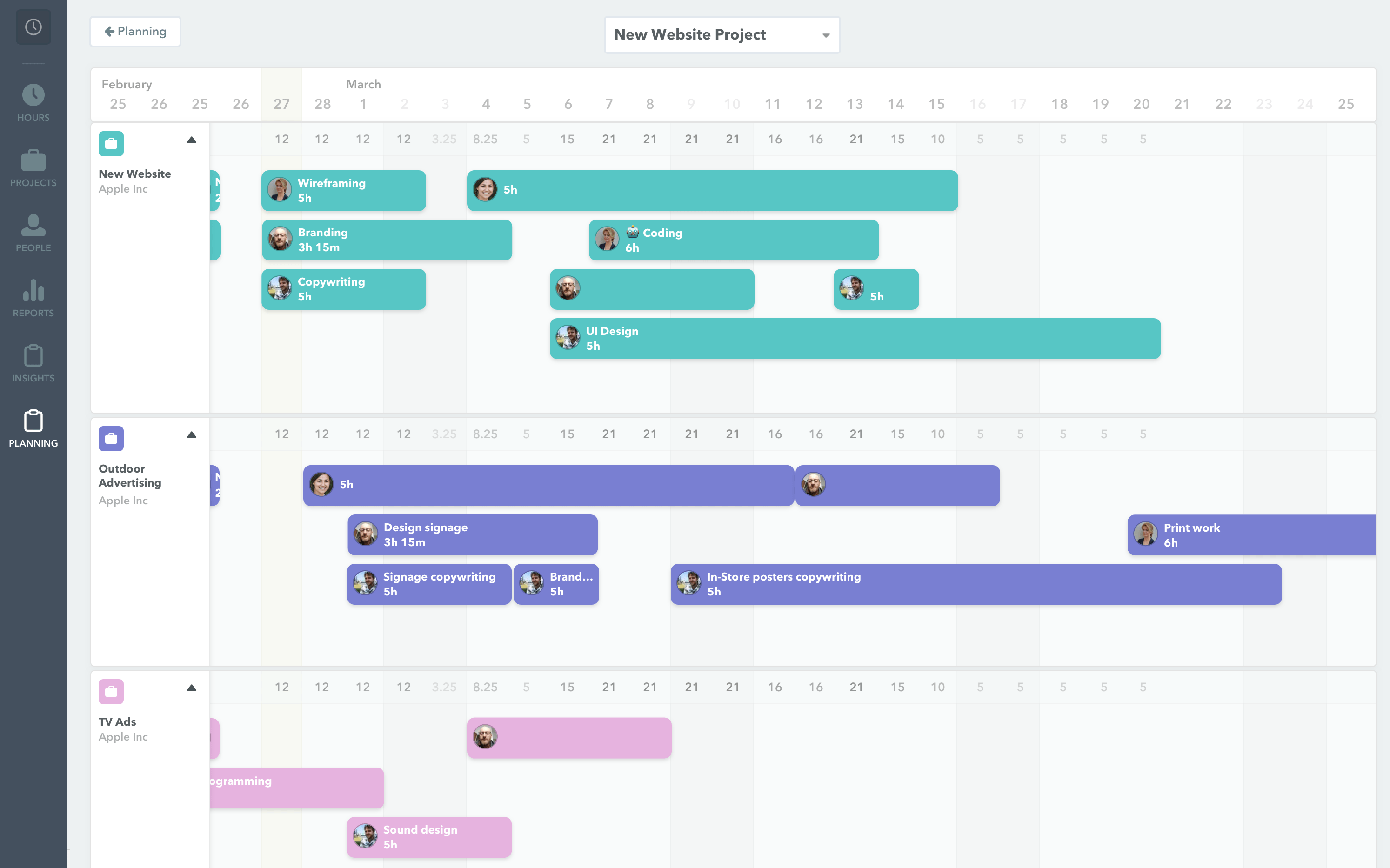 Screenshot of the planning user interface in Timely